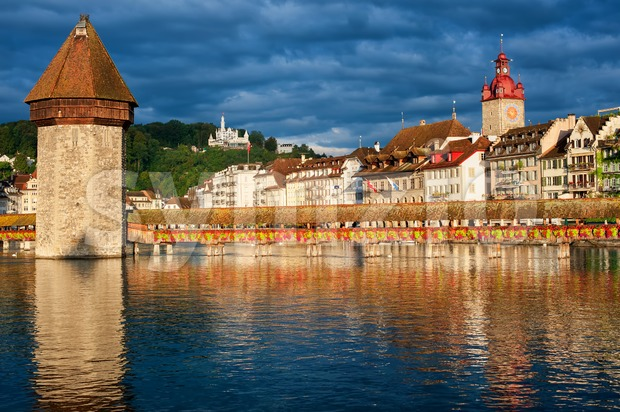Lucerne, Switzerland, view over the old town with Chapel Bridge, Water Tower, Gutsch palace Stock Photo