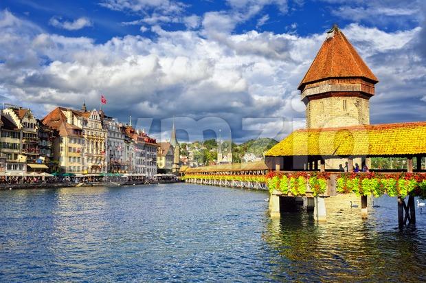 Lucerne, Switzerland, wooden Chapel Bridge and Water tower Stock Photo