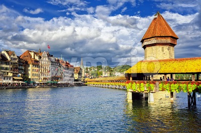 Lucerne, Switzerland, wooden Chapel Bridge and Water tower Stock Photo