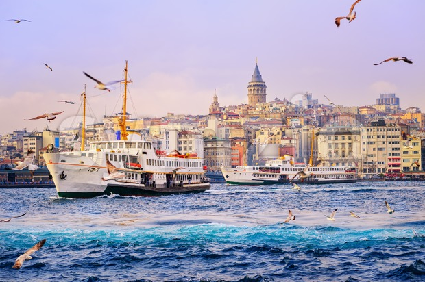 Ships crossing the Golden Horn, Istanbul, Turkey