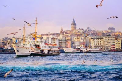 Galata tower and Golden Horn, Istanbul, Turkey Stock Photo