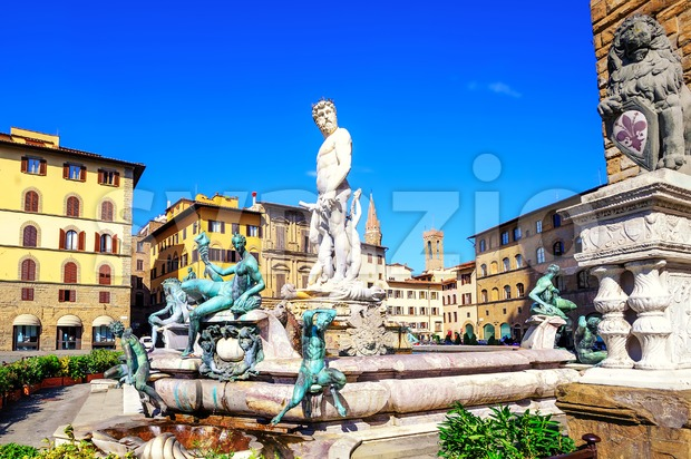 Fountain of Neptune, Florence, Italy Stock Photo