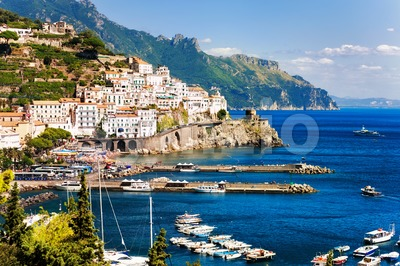 Amalfi town on Mediterranean Sea, Naples, Italy Stock Photo