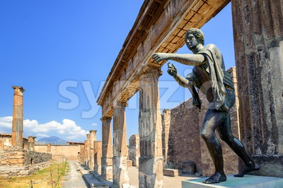 Ruins of Apollo Temple, Pompeii, Naples, Italy Stock Photo