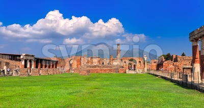 Pompeii and Mount Vesuvius, Naples, Italy Stock Photo