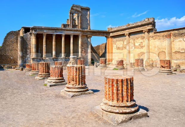 Ruins of antique roman temple in Pompeii, Naples, Italy Stock Photo