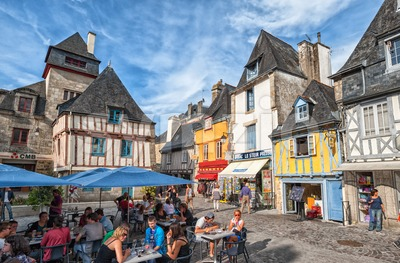 Lively town square in Quimper, Brittany, France Stock Photo