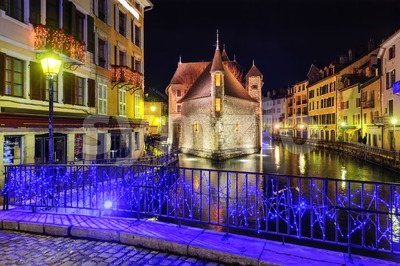 Medieval castle Palais de l'Isle in Annecy, Savoy, France Stock Photo