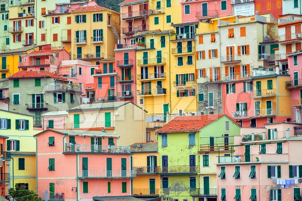 Traditional colorful italian houses, Manarola, Cinque Terre, Italy