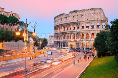 Colosseum, Rome, Italy, on sunset Stock Photo