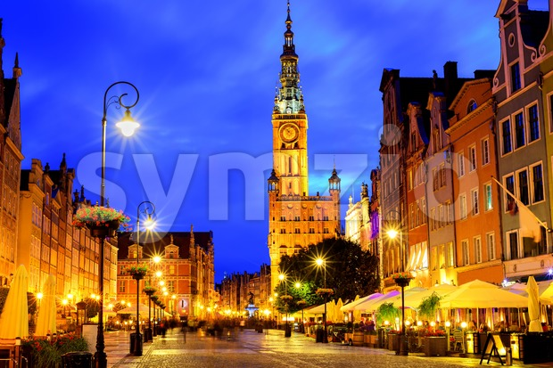 Old town of Gdansk, Poland, in late evening light Stock Photo