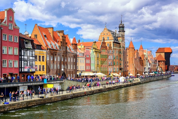 Gothic facades facing Motlawa River in Gdansk, Poland Stock Photo