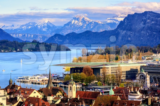 Lucerne town on Lake Lucerne and Alps mountains Stock Photo
