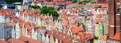 Red tiled roofs in the old town of Gdansk, Poland Stock Photo
