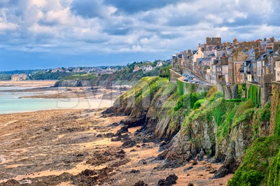 Beach on atlantic coast of Granville, Normandy, France Stock Photo