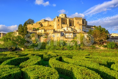 Labyrinth garden and castle Grignan, Drome, France Stock Photo