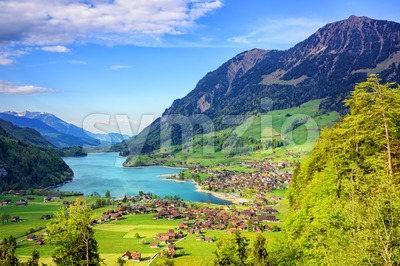 Alpine lake and mountain landscape in central Switzerland Stock Photo