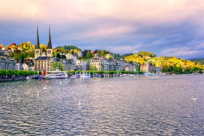 Luxury hotels at the waterfront of Lake Lucerne, Lucerne town, Switzerland Stock Photo