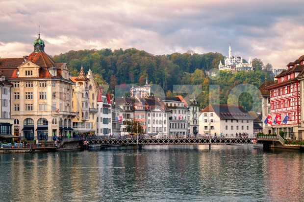 Old town of Lucerne reflecting in Reuss River, Switzerland Stock Photo