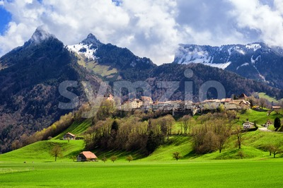 Gruyeres medieval town, Alps mountains, Switzerland Stock Photo