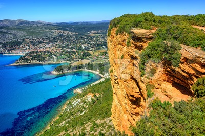 Cassis town and Cap Canaille rock, Provence, France Stock Photo