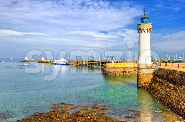 Lighthouse in Quiberon, Brittany, France Stock Photo