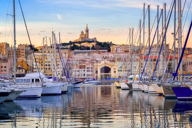 Yachts in the Old Port of Marseilles, France Stock Photo