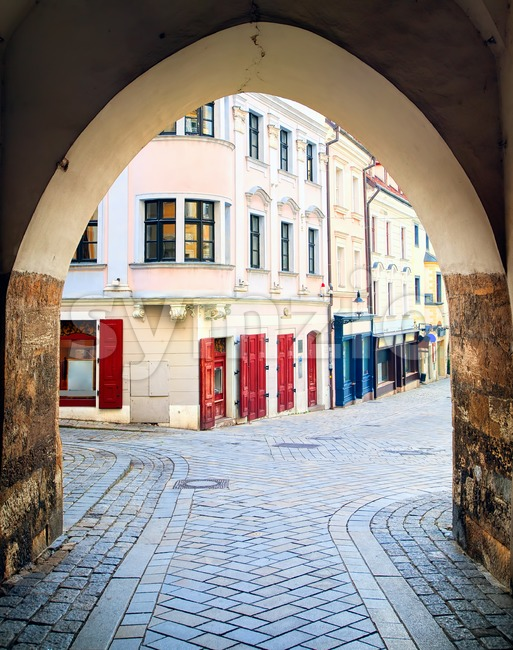 View through the old town gate to the streets of Bratislava, Slovakia