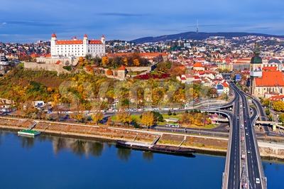 The castle and old town of Bratislava, Slovakia Stock Photo