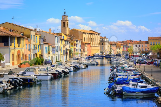 Old town of Martigues in the southern France, called Venice of Provence for its many canals and colorful houses
