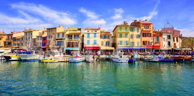Cassis old town port promenade, Provence, France Stock Photo