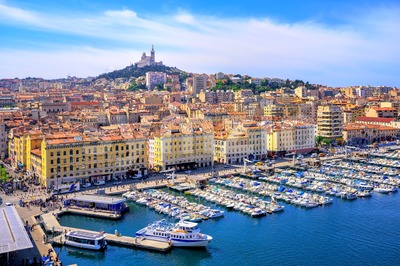 View of the historical old town of Marseilles, France Stock Photo