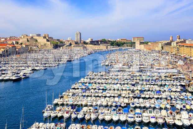 Old Port in the city center of Marseilles, France Stock Photo
