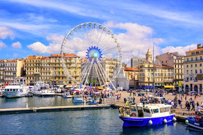 Marseilles city center and the old port, France Stock Photo