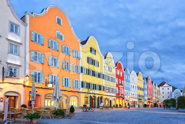 Gothic old town of Scharding, Upper Austria Stock Photo