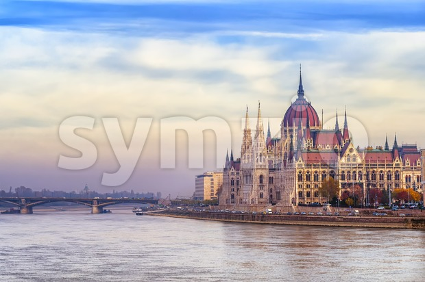 The Parliament building on Danube river, Budapest, Hungary Stock Photo