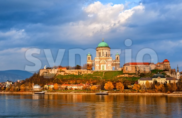 Esztergom Basilica on Danube River, Hungary Stock Photo