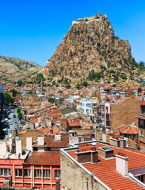 Afyon town and Karahisar castle, Turkey Stock Photo