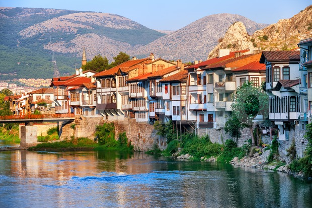 Old town of Amasya, Central Anatolia, Turkey Stock Photo