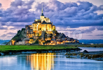 Mont Saint-Michel, France, on sunset Stock Photo