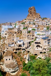 Ortahisar cave town, Cappadocia, Turkey Stock Photo