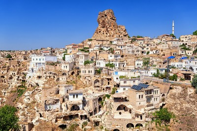 Ortahisar cave town, Cappadocia, Turkey Stock Photo