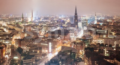 Skyline of Hamburg, Germany, at night Stock Photo