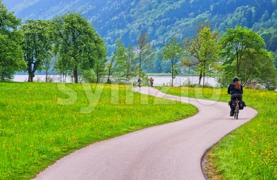 Bicycle track on Danube river in Austria Stock Photo