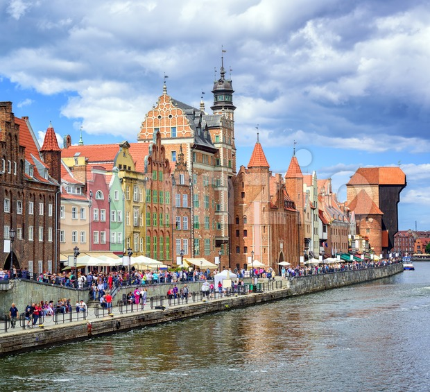 Old town of Gdansk on Motlawa river, Poland Stock Photo