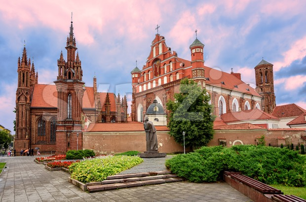 Brick gothic churches in the Old Town of Vilnius, Lithuania Stock Photo