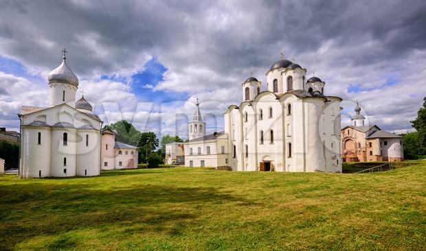 Historical russian orthodox churches ensamble in Novgorod, Russia Stock Photo