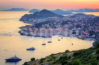 Old town of Dubrovnik on sunset, Croatia Stock Photo
