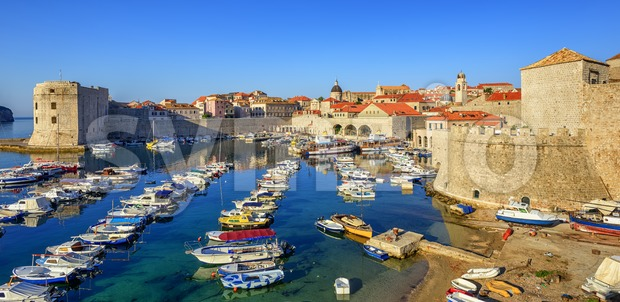 Old town port of Dubrovnik, Croatia Stock Photo