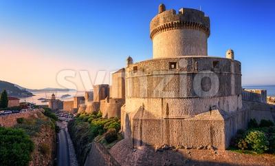 Minceta Tower and Dubrovnik City Walls, Croatia Stock Photo